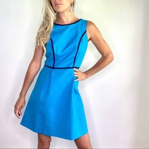 Tommy Hilfiger Navy Blue & Teal A Line Dress sz 8